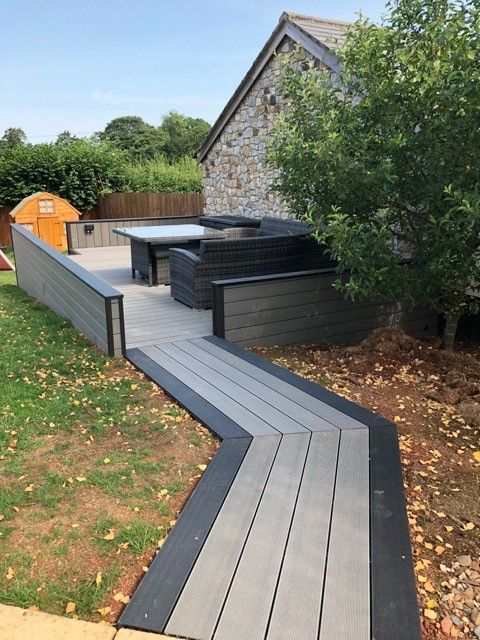 Cladco Composite Decking Boards In Stone Grey With A Black Border Composite Decking Boards Composite Decking Deck Boards