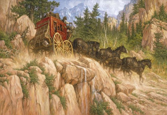 Last Stage To Denver (AP) by Larry Fanning ~ horses ~ cowboy ~ stagecoach