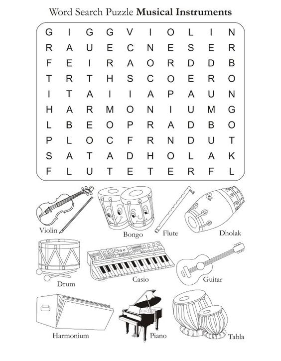 Printables Instrument Worksheets For Preschool color in pages word search puzzle musical instruments free download