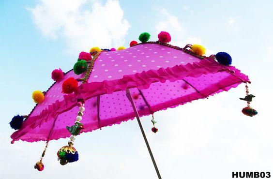 SALE! Umbrella For Kids, Sun Protection Umbrella, Pom Pom Trim, Baby Umbrella…
