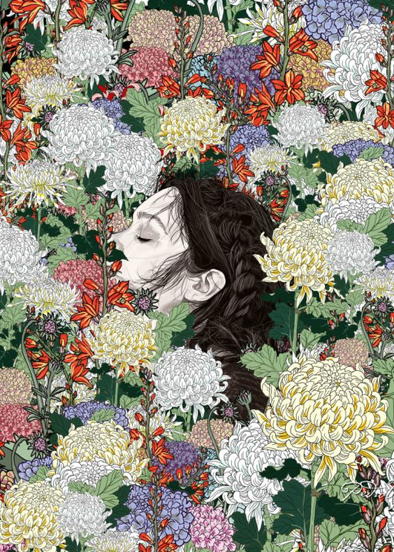 Displate Poster Lush illustration #lineart #linedrawing #sketch #nature #landscape #garden #flowers #woman #wilderness