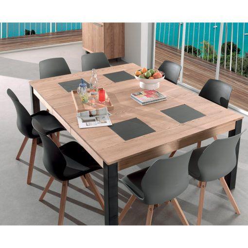 Table Carree Avec Plateau Incruste De Carres De Ceramique Aspect Ardoise Salle A Manger Table Carree Table Carree Table Salle A Manger