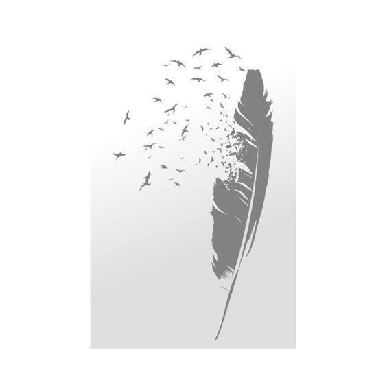 Bird feather wall sticker