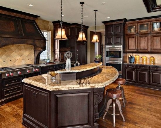 Best Gorgeous Kitchen With Dark Stained Red Oak Hardwood Floors 400 x 300
