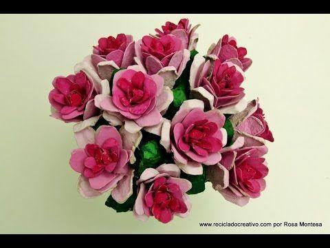 C mo realizar flores rosas con hueveras de cart n - Manualidades con hueveras ...