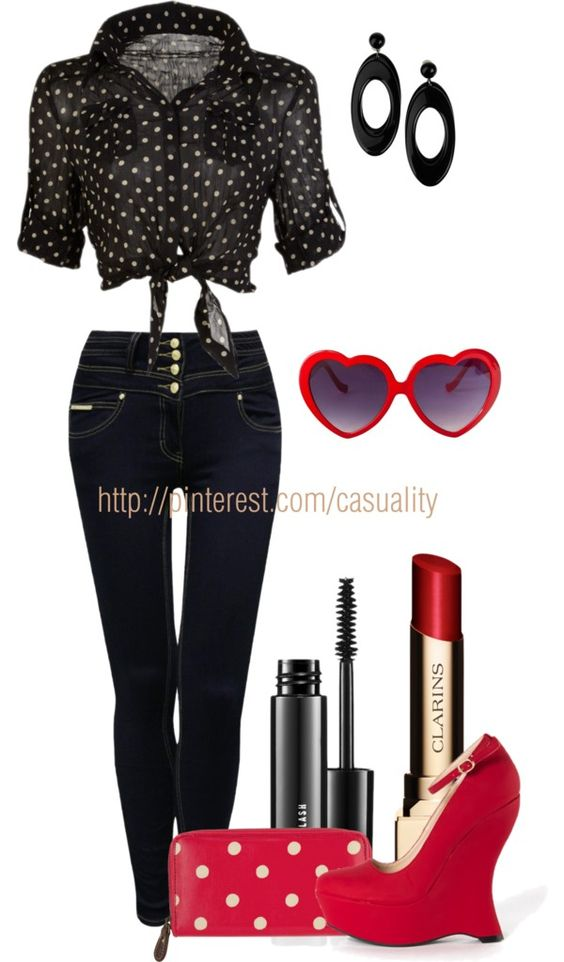 """""""Poka-Dot Retro"""" by casuality on Polyvore just not the shoes"""