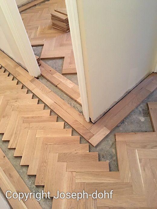 Floor Transition Idea Herringbone Parquet In Living Room Border