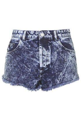 Short en jean délavé à l'acide MOTO