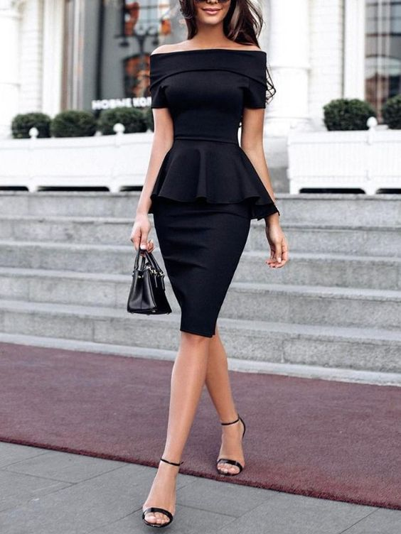 Fold Over Off Shoulder Peplum Midi Dress