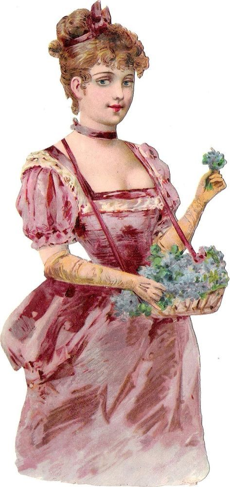 Oblaten Glanzbild scrap die cut chromo Dame  17,5cm Blumen Mädchen lady girl: