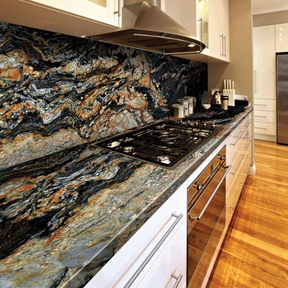 Granite magma gold natural stone contemporary kitchen for Small kitchen granite countertops