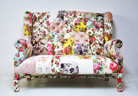 Patchwork wing back sofa