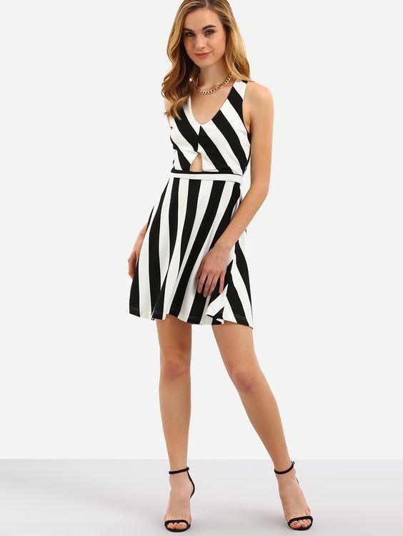 Vestido rayas cutout cruzado-(Sheinside)