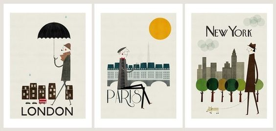 set of city prints on etsy $75