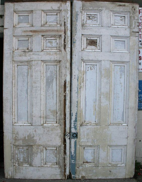 96 x129 antique pair distressed interior pocket sliding for Recessed panel shutters