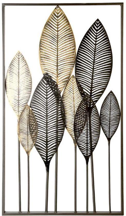 Wanddecoratie Metaal Bladeren Zwart Bruin Bladkunst Muurkunst Decoratie Verfkunst