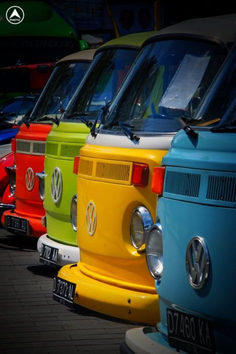 A rainbow of campers, how sunny and colourful www.cardeck.co.uk