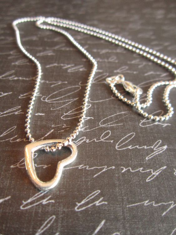 Sterling Silver Open Heart Necklace by girlinair on Etsy, $20.00 #love