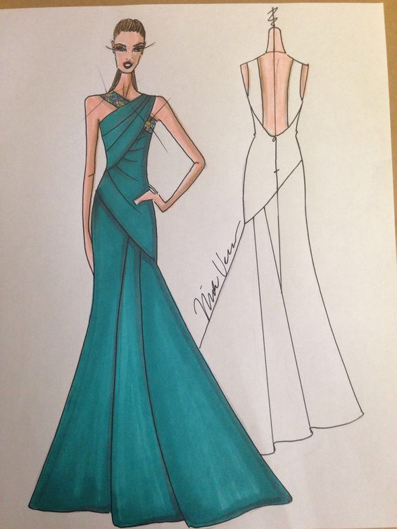 Sketch of NIKOLAKI teal silk duchesse gown with a flared silhouette and jeweled trim