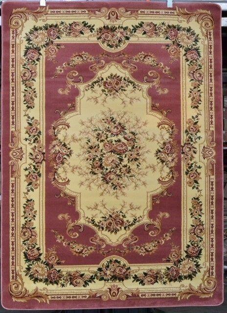 Rose Pink Ivory Beige 5x7 Floral Victorian Area Rug Carpet