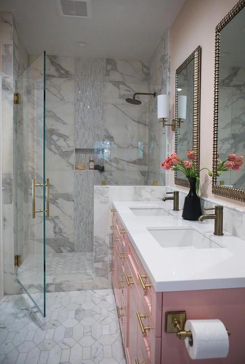 Vintage Pink Bathroom Ideas Redandblackbathroomideas Pink Bathroom White Marble Bathrooms Glamorous Bathroom