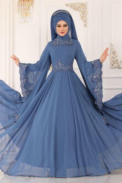 Modaselvim Abiye Kollari Pelerinli Abiye Alm52729 Indigo Elbise Dugun Elbise Elbiseler