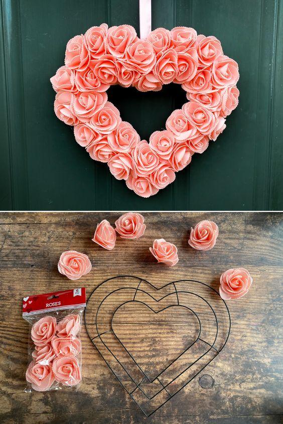 Diy Dollar Store Heart Wreath South Lumina Style Diy Valentine S Day Decorations Diy Valentines Crafts Valentine Wreath Diy