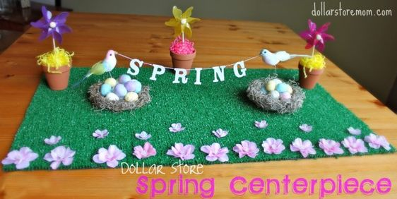 colorful spring centerpiece with dollar store supplies