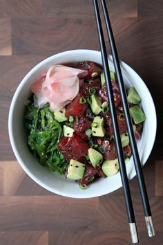 Easy Tuna Poke Bowl by popsugar #Poke_Bowl #Tuna #Healthy