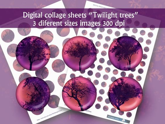 Digital Collage Sheet . Twilight trees . 1,5/1/15mm Jewelry Supplies, Bottle Caps, Crafts, Scrapbooking
