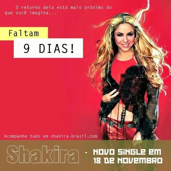 9 dias para o lançamento do novo single da Shakira!!  9 days untill the release of Shakira's new single!! #Shakira #ShakiraBrasil #ShakiraIsComing