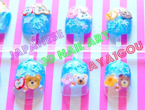 Fairy kei nails teddy bears and miniature foods by Aya1gou on Etsy, $17.50