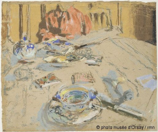 The table 1915 Vuillard Pastel on beige paper Orsay Museum