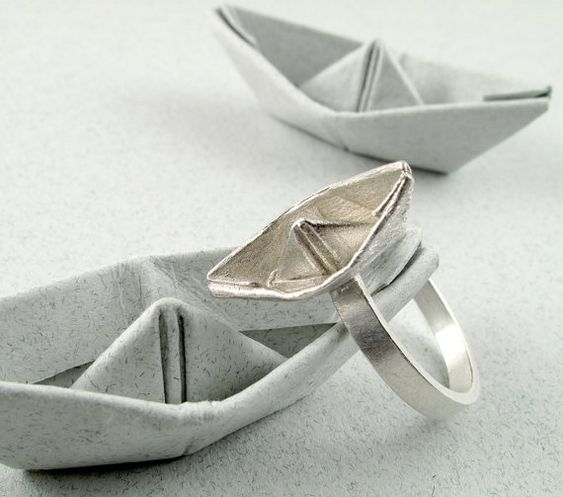 Origami Jewelry Silver Boat Ring Origami Boat by monteazul on Etsy