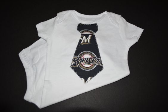 Milwaukee Brewers Baseball Baby Tie Bodysuit or T-Shirt by BrikayDesigns on Etsy