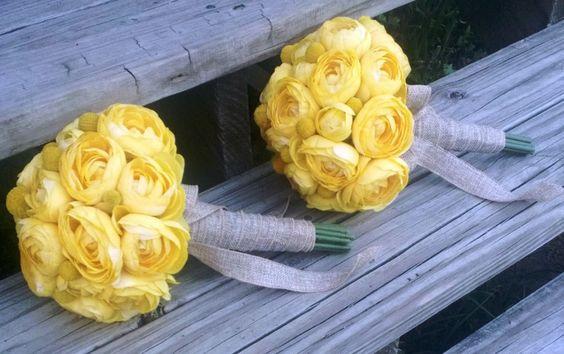 17 Piece Wedding Package, Yellow White bouquet, Yellow Bouquet, Ranunculus Bouquet, Burlap Bouquet, Yellow Wedding, Rustic Wedding