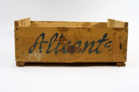 Vintage Wood Fruit Crate / Vintage Alicante Wood by HuntandFound, $22.00