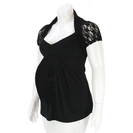 Black Lace Shrug Maternity Top ❤ liked on Polyvore featuring maternity