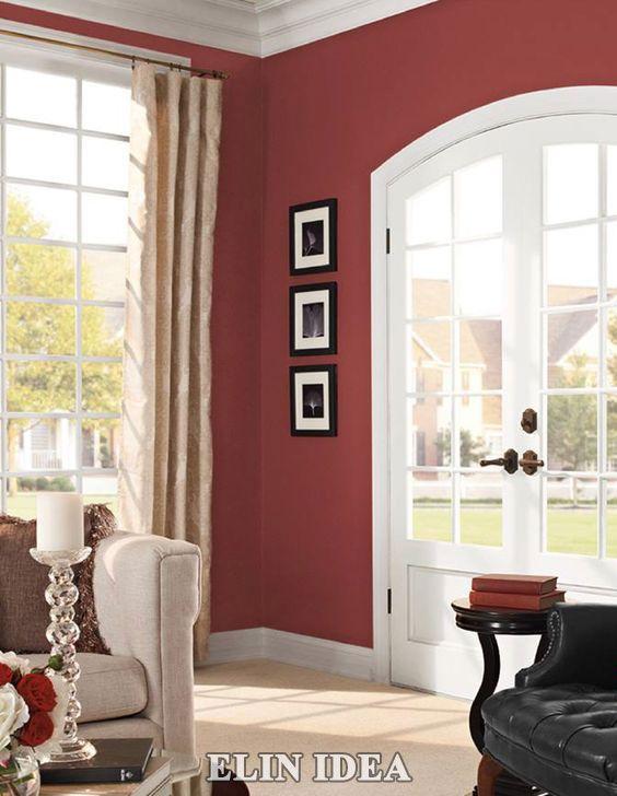 نقاشی دیوار های منزل با رنگ قرمز Living Room Colors Paint Colors For Living Room Living Room Paint