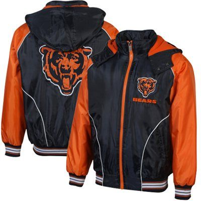Chicago Bears Touchdown Full Zip Hooded Jacket - Navy Blue/Orange