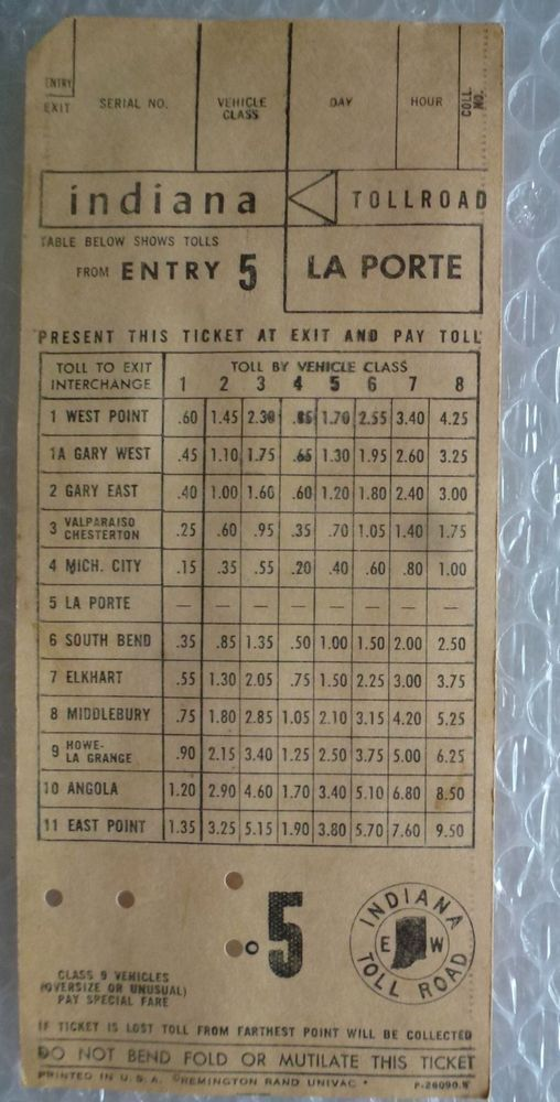 iNDIANA TOLL ROAD TICKET RECEIPT LA PORTE ENTRY 5 VINTAGE
