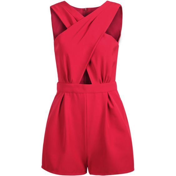 SheIn(sheinside) Red Sleeveless Cross Hollow Jumpsuit (€21) ❤ liked on Polyvore featuring jumpsuits, rompers, dresses, playsuit, red, red rompers, red romper, playsuit jumpsuit, v neck romper and red jumpsuit