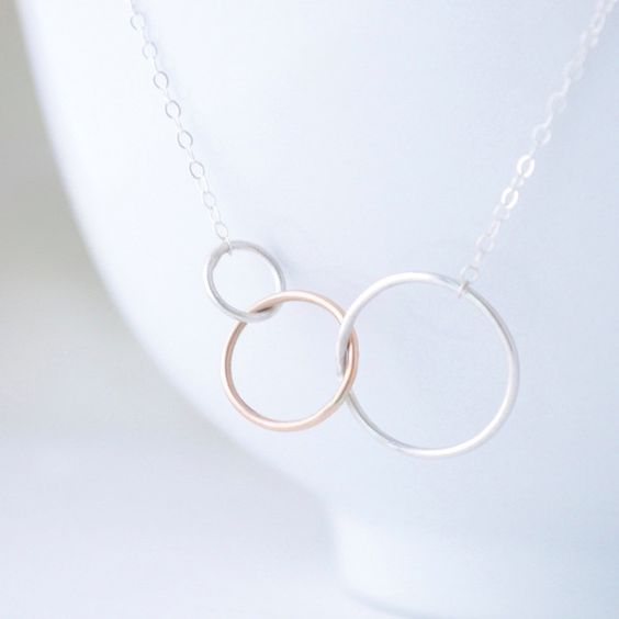 interlocking circles necklace beautiful three rings and