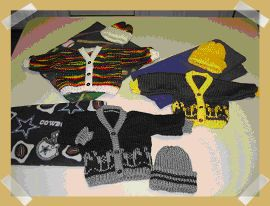 Arlene's All in One Bulky Newborn Cardigan with Hat Variations