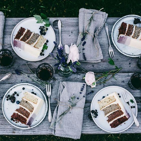 """Missing summer and cake-feasts like this  Have a lovely day guys! #ourfoodstories"" #tablescape"