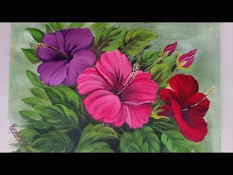 Hibiscus Flower Bunch Painting Acrylic Painting Tutorial Youtube Acrylic Painting Flowers Abstract Floral Paintings Abstract Flower Painting
