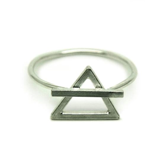 Sterling silver alchemical air/earth symbol ring by Wulfcub