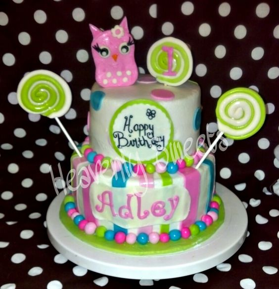 By Heavenly Sweets  stripes and polka dots owl birthday cake
