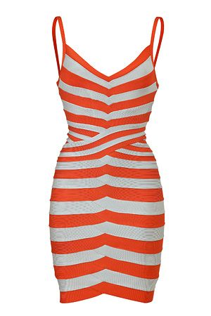 STYLEBOP.com | Mandarin and Ice Grey Bandage Dress by HERVE LEGER | the latest trends from the capitals of the world
