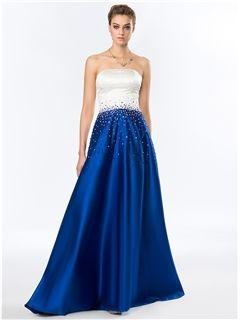 Simple Strapless Beading Sweep Train A-Line Evening Dress